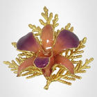 Orchid Brooch with 24kt Gold Cypress Leaf
