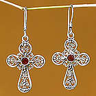 'Floral Cross' Dangle Earrings