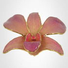 Orchid Pendant / Brooch with 24kt Gold