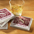 Personalized Floral Initial Tile Coaster Set