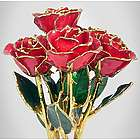"""Six 8"""" Gold Trimmed Preserved Roses"""