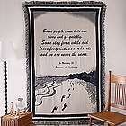 Embroidered Memorial Footprints Tapestry Afghan Blanket