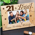 Engraved 21st Birthday 4 x 6 Wooden Picture Frame