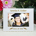 Engraved White and Gold Graduation Picture Frame