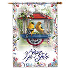 Goldfinches Fourth of July Decorative Flag