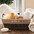 Embroidered Monogram Personalized Wicker Basket