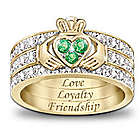 Blessing of the Claddagh Emerald & Diamond Hidden Message Ring