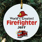 World's Greatest Firefighter Personalized Ceramic Ornament