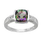 Diamond & Mystic Green Topaz Ring in 14K White Gold
