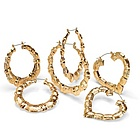 14k Gold-Plated Set of Three Pairs of Bamboo Style Hoop Earrings
