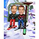 Ski Lift Caricature Print from Personal Photos