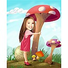 Mushroom Land Personalized Caricature from Photos