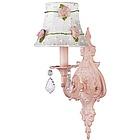 Pink 1 Arm Wall Sconce with Pink Net Flower Shade