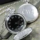 Silver-Plated Pocket Watch with Black Face