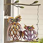 Swinging Owl Pair Iron Wall Sculpture