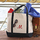Deluxe Weekender Script Initial Embroidered Tote