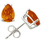Pear Shape Citrine Earrings In 14k White Gold