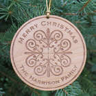 Engraved Wooden Merry Christmas Round Ornament