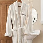 Embroidered Luxury Ivory Fleece Robe
