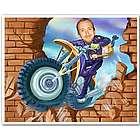 Motorcycle Stuntman Caricature 8x10 Print From Photo