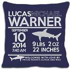 Personalized New Baby Birth Announcement Shark Pillow