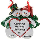 "Snow Couple ""Our 1st Married Christmas"" Ornament"