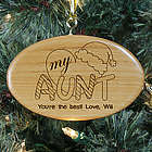 Engraved Heart My Aunt Wood Oval Ornament