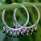 Classic Black Sterling Silver Hoop Earrings