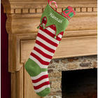 Personalized Knit Red Stripes Christmas Stocking