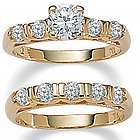 14k Gold-Plated DiamonUltra Cubic Zirconia Wedding Ring Set