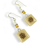 Recycled Glass Flower Charm Earrings