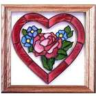 Heart and Flowers Stained Glass Window