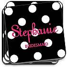Personalized Black Polka Dot Coaster Set