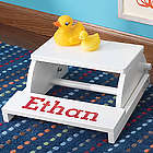 Kid's Personalized White Step and Sit Flip Stool