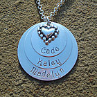 Family Love Hand Stamped Stacked Necklace wtih Heart Charm