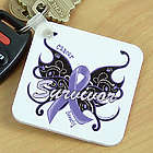 Cancer Survivor Butterfly Key Chain