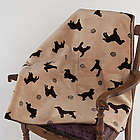 Small Embossed Dog Beige Plush Throw Blanket