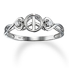 Double Heart and Diamond Peace Sign Promise Ring in 14k Gold