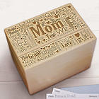 Mom's Engraved Word-Art Recipe Box
