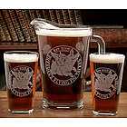 Personalized Flying Pig Theme Pint Glasses and Pitcher Set