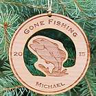 Personalized Wooden Fishing Christmas Ornament