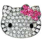 Large Crystal Kitty with Pink Bow Adjustable Ring