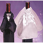 Bride & Groom Satin Bottle Covers