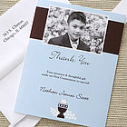 Bless This Child Custom Photo Communion Thank You Cards in Blue