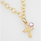 Gold Cross Necklace with Birthstone