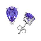 Pear Tanzanite and Diamond Stud Earrings in 14K White Gold