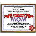 World's Greatest Mom Personalized Printed Plaque