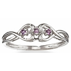 Amethyst Double Heart Promise Ring in 14k Gold