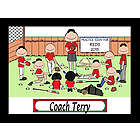 Personalized Baseball Coach Cartoon Print with Players