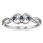 Sapphire Double Heart Promise Ring in 14k White Gold